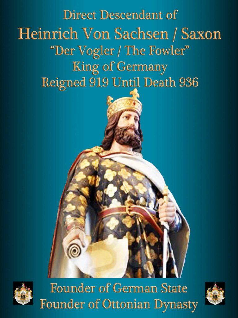 """Heinrich Von Sachsen """"Saxon"""" King of Germany 936 Ottonian Dynasty"""