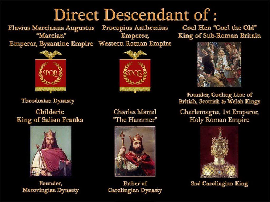 Direct descendant of Byzantine Empire, Roman Empire, Merovingian Dynasty, Carolingian Dynasty