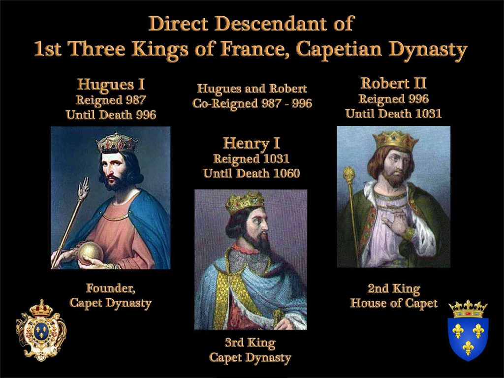 Direct descendant of the Kings of France Capetian Dynasty